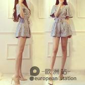 連身褲/蕾絲v領氣質顯瘦夏季新款高腰闊腿褲短褲女「歐洲站」