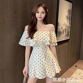 2021夏季新款溫柔一字肩荷葉邊波點連體裙子修身顯瘦闊腿連體褲女 蘇菲小店