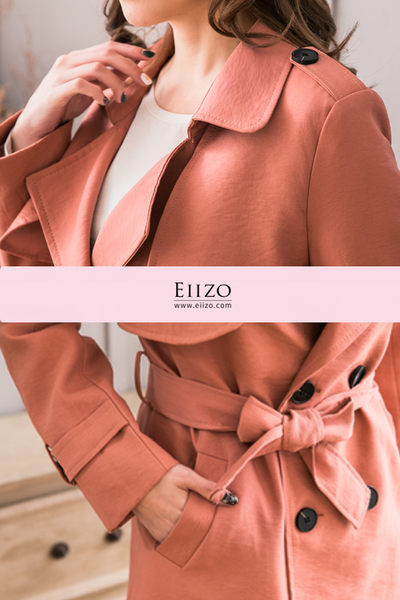 【EIIZO】都會風挺版風衣(粉)