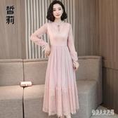 中大尺碼洋裝 蕾絲長袖連身裙秋裝新款女早秋款流行高端洋氣裙子 yu9916『俏美人大尺碼』
