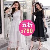 長洋裝 韓版 派對婚禮 小禮服 短袖 白色 伴娘 蕾絲連身裙 長裙 花漾小姐【現+預購】