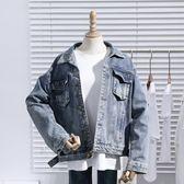 春秋新款韓版寬鬆復古bf薄款牛仔外套女學生百搭短款港風上衣 「爆米花」