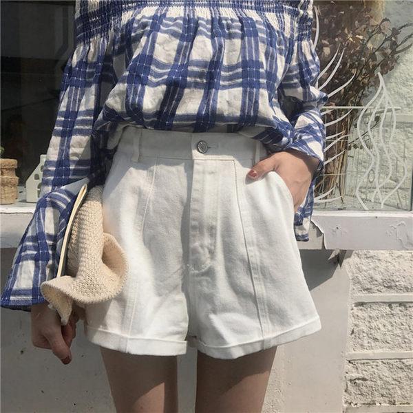 [協貿國際]短褲  純色高腰顯瘦卷邊牛仔短褲 休閑熱褲配腰帶1入