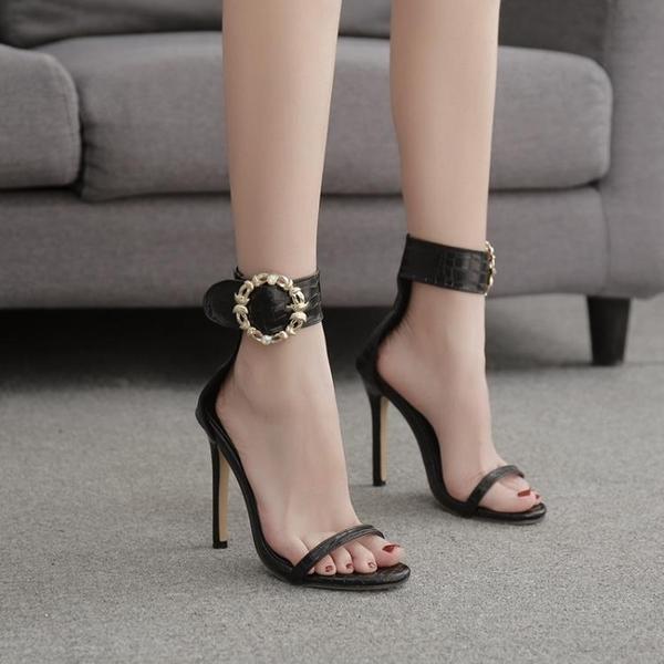 歐美新款 涼鞋女2021新款百搭夏黑色真皮一字帶扣高跟鞋細跟亮片網紅仙女風