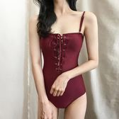 性感綁帶顯瘦遮肚小胸三角連體游泳衣女