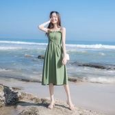 洋裝 連身裙 長洋裝2019女夏裝新款性感抹胸沙灘裙海邊度假長裙小清新雪紡吊帶連衣裙
