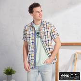 【JEEP】多彩撞色格紋短袖襯衫(多彩格紋)