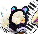 推薦 專利產品熊耳朵發光無線藍手機電腦頭戴式折疊耳機 卡菲婭