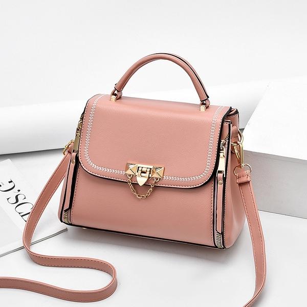 韓版潮流女包包 女款簡約手提包 時尚百搭包包女士手提包 大氣清新單肩包 撞色小方包手提斜挎包