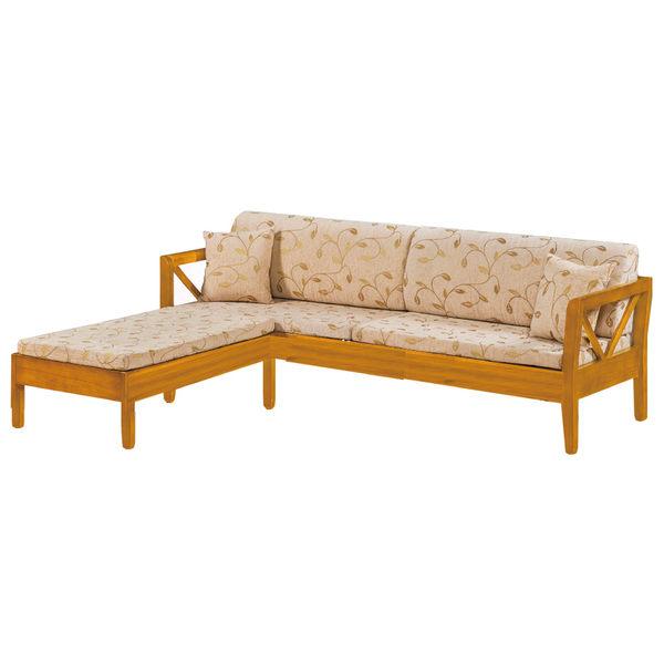 【采桔家居】麥提斯 時尚亞麻布實木L型沙發椅組合(四人座+腳椅)