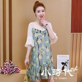 大碼短袖洋裝 公主夏裝軟妹印花子雪紡連身裙潮