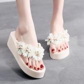Bzbz新款海邊花朵沙灘拖鞋女夏外穿時尚厚底人字拖坡跟防滑涼拖鞋
