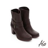 A.S.O 保暖靴 鉚釘拉鍊釦飾粗跟短靴  深咖啡