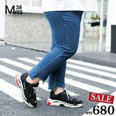 Miss38-(現貨)【A08138】藍色 大尺碼牛仔褲 不規則褲腳 顯瘦彈力 內搭 小腳 長褲-中大尺碼