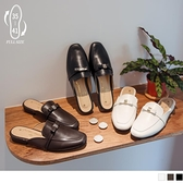 《SD0280》台灣製造.細緻皮質金屬裝飾平拖穆勒鞋 OrangeBear