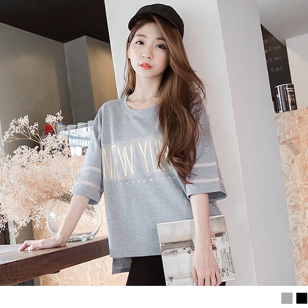 《AA5170-》質感燙金英文印字美式五分袖T恤 OB嚴選