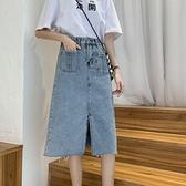 牛仔裙牛仔半身裙女夏2021新款韓版設計感高腰顯瘦A字包臀裙開叉中長裙 雙11 伊蘿