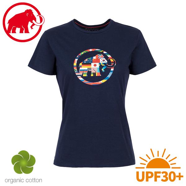 【MAMMUT 長毛象 女 Nations T-Shirt 短袖世界T《藏青》】1017-02230/棉T/抗UV/休閒運動衫