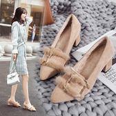 毛毛女鞋豆豆仙女外穿一腳蹬2018秋冬季新款粗跟中跟高跟加絨單鞋