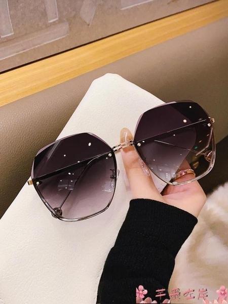 墨鏡2021年新款無框切邊太陽鏡潮氣質墨鏡女大臉顯瘦時尚眼鏡防紫外線 芊墨左岸