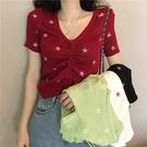 (免運)DE shop - 刺繡小花朵短袖性感V領抽繩短袖T恤 - T-7330