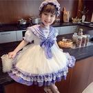 女童洛麗塔公主裙夏裝2021新款兒童正韓洋氣學院風蕾絲網紗洋裝
