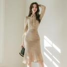 職業洋裝 春裝女正韓OL御姐輕熟風襯衫修身蕾絲兩件套職業連身裙-Ballet朵朵