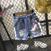 童裝夏裝2018新款男童短褲可愛卡通兒童破洞牛仔短褲小童褲子夏季【小梨雜貨鋪】