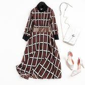 洋裝-七分袖PU皮撞色腰帶格紋女連身裙2色73qz74【巴黎精品】