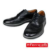 【ferricelli】Koleos男仕翼紋雕花綁帶休閒皮鞋  黑色(F51236-BL)