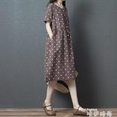 現貨5折-棉麻連身裙 棉麻連身裙女夏2020春寬鬆大碼苧麻印花圓點顯瘦短袖亞7-4