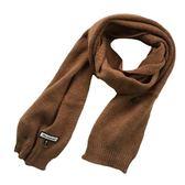 圍巾 韓版百搭長款加厚保暖針織毛線圍脖純色情侶雙面黑