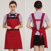 女圍裙純棉韓版時尚可愛廚房做飯餐廳放油防水工作服   9號潮人館