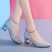 高跟鞋 水晶高跟鞋女銀色圓頭粗跟中跟5cm禮服伴娘婚鞋單鞋一字扣帶宴會