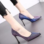 尖頭高跟鞋  女鞋夏季新款時尚水鉆尖頭高跟鞋韓版百搭淺口性感單鞋女  伊蘿鞋包