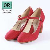 【ORiental TRaffic】復古圓頭繫帶瑪麗珍鞋-復古紅
