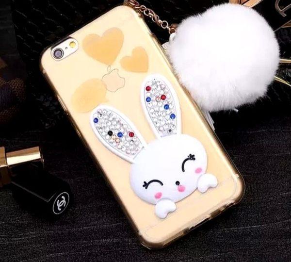 [24H 現貨快出] iphone 6 plus 水鑽手機殼 卡通 兔耳朵 TPU 軟殼