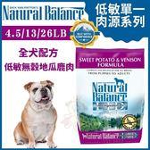 *WANG*Natural Balance 低敏單一肉源《無穀地瓜鹿肉全犬配方》4.5LB【88650】