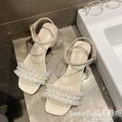 一字帶涼鞋女新款百搭仙女風晚晚鞋高跟網紅珍珠涼鞋女ins潮 電購3C