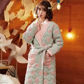 睡袍睡袍女冬季加長款純棉睡衣三層夾棉加厚保暖女士家居服 萬客居