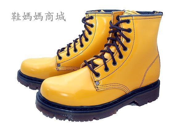 【鞋媽媽】[男女]全新AE黃褐色馬丁鞋*鞋帶款*8孔短靴*ae106