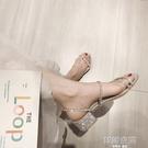 兩穿涼鞋女2020新款仙女風百搭水鑚網紅中跟粗跟拖鞋女外穿潮