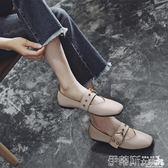 豆豆鞋春秋豆豆鞋女2018新款平底單鞋軟皮淺口奶奶鞋方頭瑪麗珍鞋 伊蒂斯女裝
