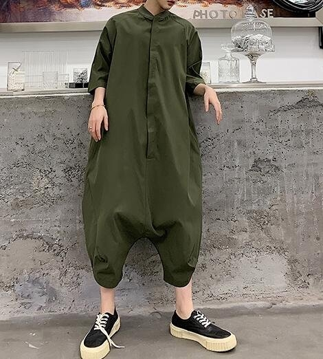FINDSENSE品牌 韓國 2019 夏季 新款 復古 高腰 嘻哈 連體褲 工