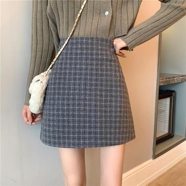 半身洋裝 格子半身裙女秋冬新款復古毛呢洋裝中長款氣質包臀裙【快速出貨】