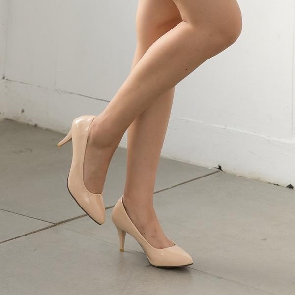 大尺碼女鞋41-48 凱莉密碼 韓版時尚有型尖頭漆皮高跟鞋7cm【XP811】