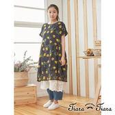 【Tiara Tiara】百貨同步 純棉黃色檸檬薄透短袖洋裝 (黑)
