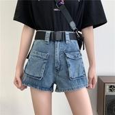 牛仔短褲 2020夏季新款大碼胖mm工裝牛仔短褲女高腰寬鬆顯瘦a字闊腿熱褲潮