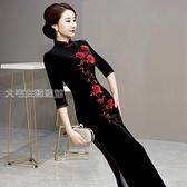 改良洋裝重工刺繡金絲絨旗袍長裙氣質高端軍閥夫人中國風改良禮服連身裙女 快速出貨