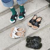毛茸茸舒適好穿拖鞋露趾交叉帶厚底鞋